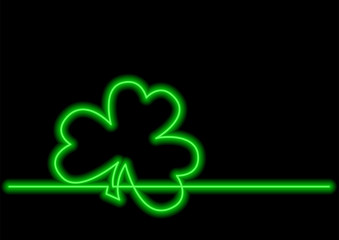 one line drawing of isolated vector object - four leaf clover with neon vector effect