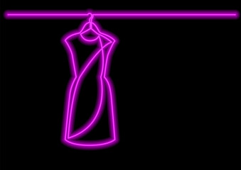 one line drawing of isolated vector object - woman dress on hanger with neon vector effect