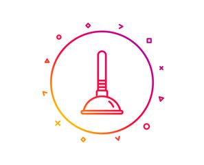 Cleaning plunger line icon. Ð¡leaning of pipe clogs symbol. Housekeeping equipment sign. Gradient pattern line button. Plunger icon design. Geometric shapes. Vector