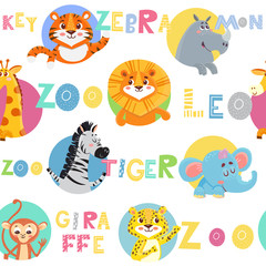 Seamless pattern with cute wild animal. Zoo. Vector colorful illustration