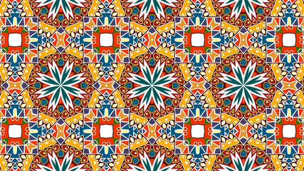 multi color tile-mosaic with a traditional Moroccan pattern.