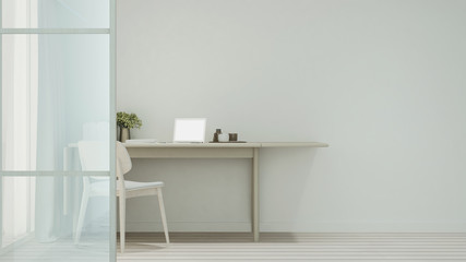 workplace or dining room in home or apartment on white tone - Interior simple design - 3D Rendering