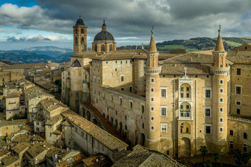 Aerial view of the Ducal Palace at the popular tourist destination world heritage site of Urbino in the Marche region Italy Fotomurales