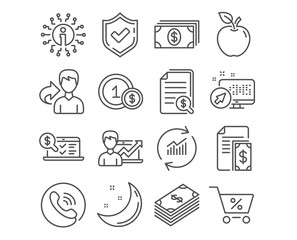Set of Dollar, Special offer and Banking icons. Success business, Financial documents and Usd coins signs. Payment, Update data and Online accounting symbols. Usd currency, Discounts, Money payment