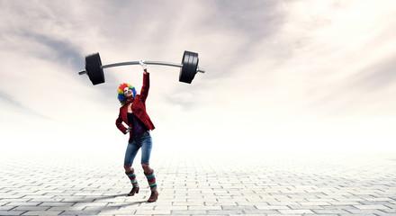 Funny clown fitness . Mixed media