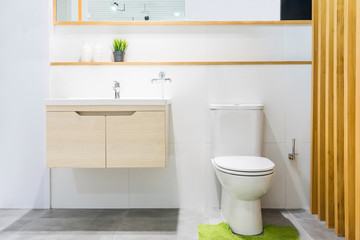 Luxury bathroom interior with toilet bowl, mirror and modern basin cabinet for home, house, building, hotel, resort