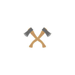 Two crossed axes on a white background. Vector illustration
