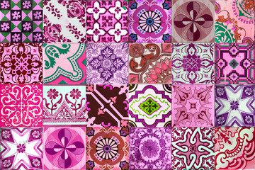 Collection of patterns tiles in pink and purple