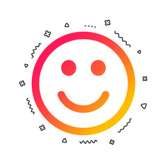 Smile icon. Happy face chat symbol. Colorful geometric shapes. Gradient smile icon design.  Vector