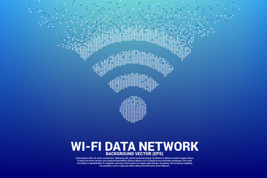 PrintVector Polygon wi-fi mobile data network icon from pixel. Concept for data transfer of mobile and wi-fi data network.