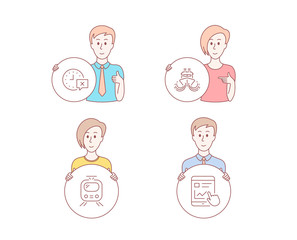 People hand drawn style. Set of Train, Time and Ship icons. Internet report sign. Tram, Remove alarm, Shipping watercraft. Web tutorial.  Character hold circle button. Man with like hand. Vector