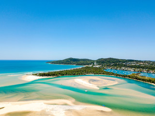 Noosa river aerial view with vibrant blue water on the Sunshine Coast in Queensland, Australia