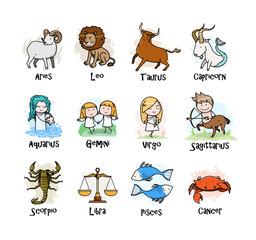 A collection of Zodiac symbols icon, hand drawn vector cartoon illustration of cute zodiac signs