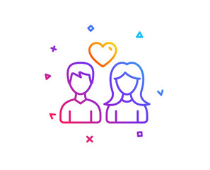 Couple with Heart line icon. Users Group sign. Male and Female Person silhouette symbol. Gradient line button. Couple love icon design. Colorful geometric shapes. Vector