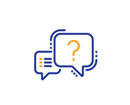 Question mark line icon. Quiz chat bubble sign. Colorful outline concept. Blue and orange thin line color Question mark icon. Vector