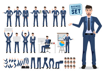 Male business character vector set. Business man catoon character creation with different pose for office presentation isolated in white. Vector illustration.