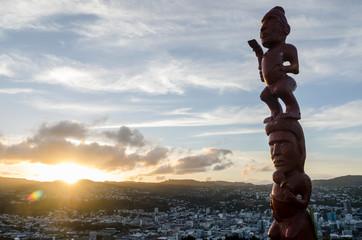 Maori Pouwhenua on top of Mount Victoria in Wellington, New Zealand