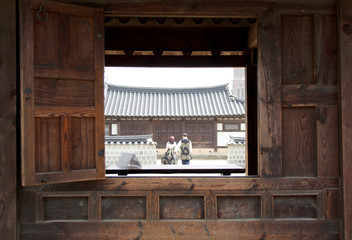 Korean Traditional Building House : Jeonju, South Korea - view of Jeonju Hanok village, South korea. Famous place in Jeonju