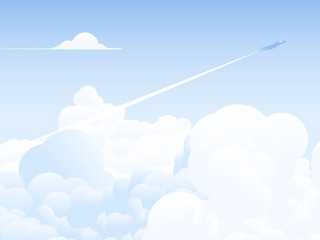 Sky scenery landscape, jet flying through clouds with smoke trail above the sky, bright blue tone