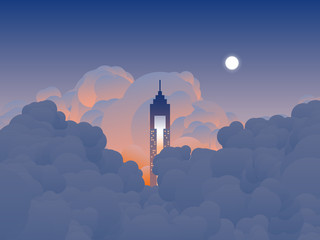Sky scenery landscape, tall building reaches the clouds in twilight time, orange and blue tone Fototapete