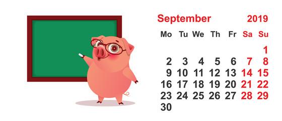 Calendar September 2019 year pig teacher at green blackboard