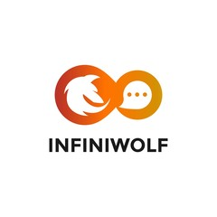 Combination of Wolf, Chat Icon and Infinity for Various Business Logo with Vector Files