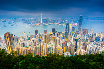 Amazing view of Victoria harbour from The Peak,Hong Kong.