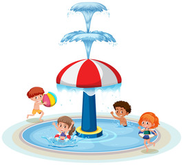 Isolated children at water park