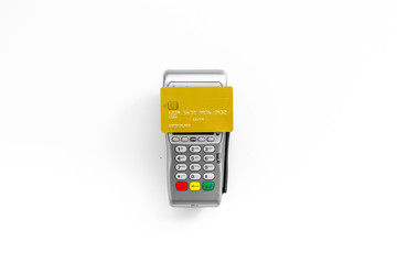 Paypass technology. Bank card lays on payment terminal on white background top view copy space