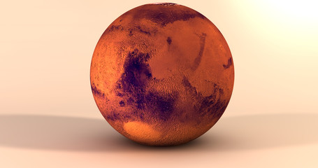 A scene with the planet Mars in a solid background.