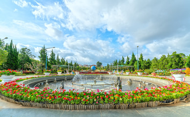 Flower carpet in the park with many flowers covered the fountain in the middle attracts tourists to the flower garden in Dalat city, Vietnam