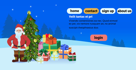 santa claus near fir tree decorated present gift box happy new year merry christmas concept horizontal copy space flat