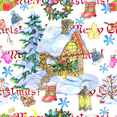 Christmas and New Year seamless pattern with cottage house, fir tree and holiday objects on white. Watercolor hand drawn winter background with cartoon illustration for decorations