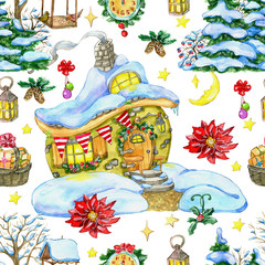 Christmas and New Year seamless pattern with cute house, conifer, poinsettia and holiday objects. Watercolor hand drawn winter background with cartoon illustration for decorations
