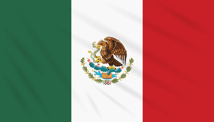Flag Mexico swaying in wind, realistic vector