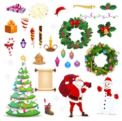 Christmas and New Year winter holiday icons