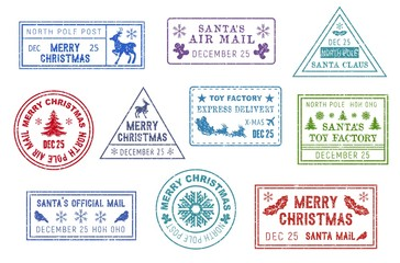 Santa Claus mail, Christmas post stamps
