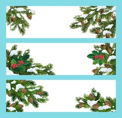 Pine and holly tree branches, christmas banners