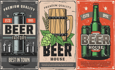 Brewery factory, beer pub and cafe vector poster