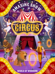 Circus show with animals, trainer and air acrobats