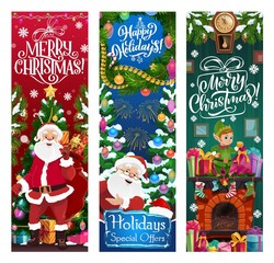 Santa, elf and gifts. Christmas sale vector offer