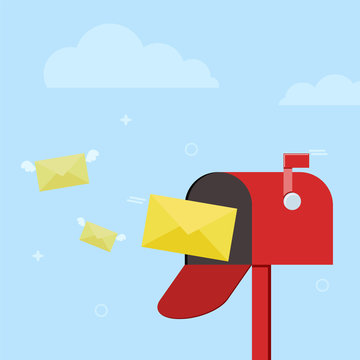 Mail box with letters for illustration of post, parcel, mail service, inbox and delivered message. E-mail concept. Colored flat background, vector design