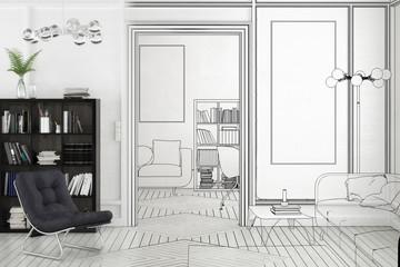 Projekt einer Apartment-Einrichtung (Plan)