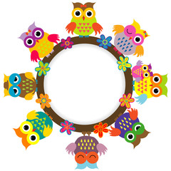 Cartoon cute owls round frame for kids