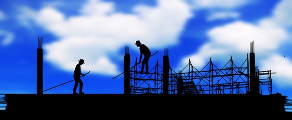silhouette construction team working on high ground over blurred sky  background