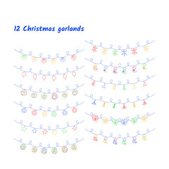 Vector set of Christmas lights and garlands.