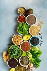 Set healthy vegan vegetarian food background Diet eating