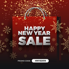 Happy New Year Sale Promotion Background Design with Golden Particle and Snowflakes on Shopping Bag.