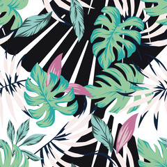 Wall Mural - Abstract tropical pattern from leaves black white background