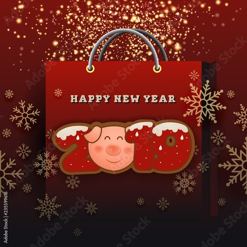 happy new year 2019 celebration greeting card background design with golden particle and snowflakes